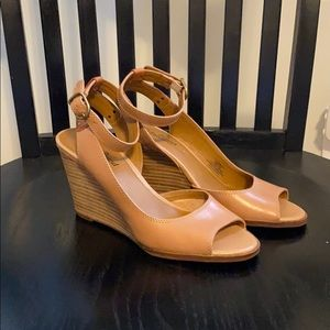 Tan Lucky Brand peep toe wedges with ankle strap